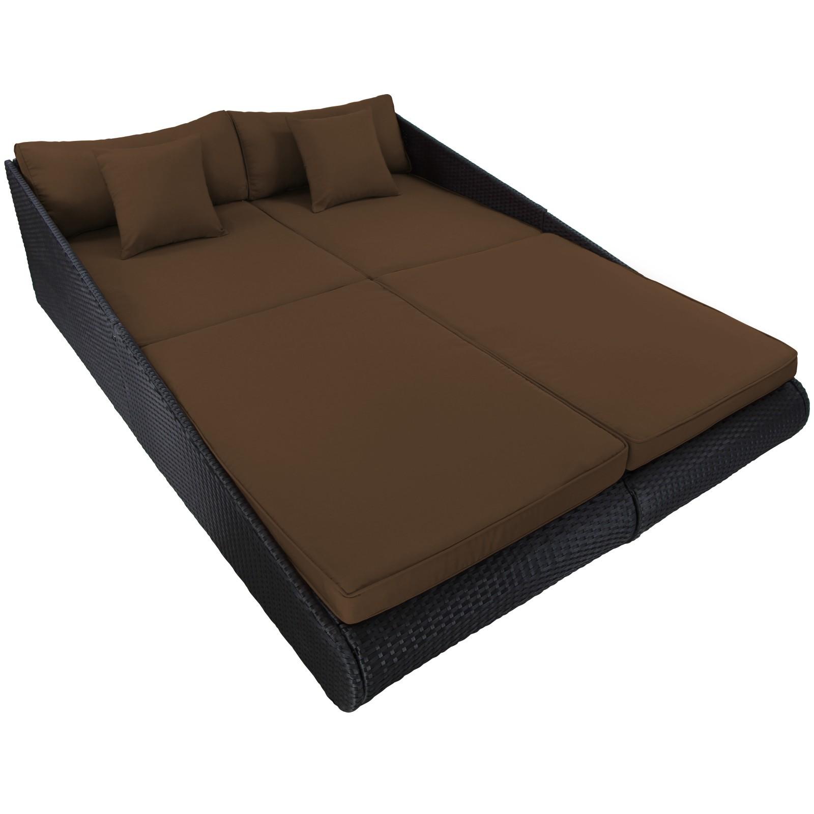 rattan tagesbett rattanbett liege gartenliege relaxliege xxl doppelliege bett ebay. Black Bedroom Furniture Sets. Home Design Ideas