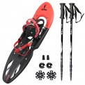 Super Saver: Snow Shoe ALPIFLEX 29 in Flexi-Red with Carry Bag by Alpidex + Lightweight, 3-part Telescope Pole, Snow Shoe Pole Hiker 5000