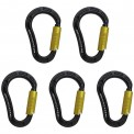5 x Munter Hitch HMS Aluminium Triple Lock Carabiner Elegance 2.0 by Alpidex