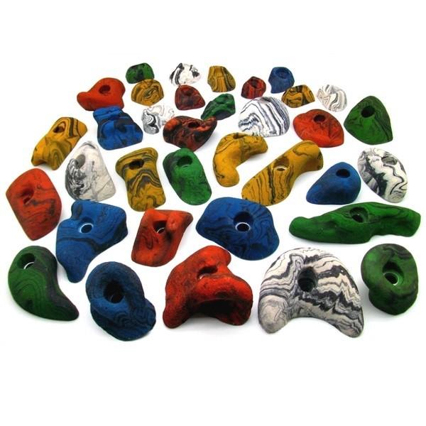 35 Klettergriffe bunt im Starterset für Kinder, Schrauben, 50 Einschlagdübel und Setzwerkzeug